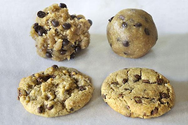 Ζύμη για cookies πριν και μετά το ψήσιμο/Cookie dough before and after baking