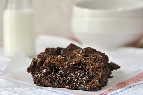 Πουτίγκα με κρουασάν σοκολάτας καικακάο/Cocoa and chocolate croissant pudding
