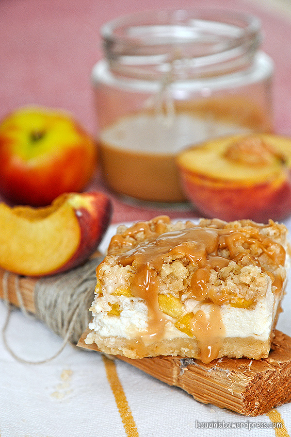 Τραγανές μπάρες με γιαούρτι, ροδάκινο & καραμέλα/Peach caramel greek yogurt crumb bars