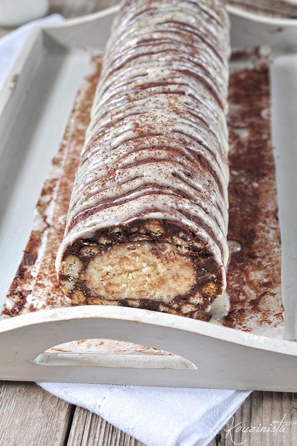 Δίχρωμο μωσαϊκό με λευκή & μαύρη σοκολάτα/White and dark chocolate fridge cake
