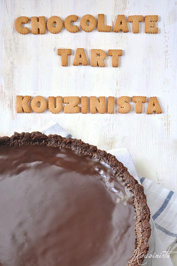 Τάρτα σοκολάτας με γυαλιστερό σοκολατένιο γλάσο / Chocolate glazed chocolate tart